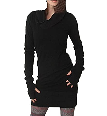 Amlaiworld Femmes Automne hiver Sweats à capuche Hooded Slim Fit Mini jupe Robe Pullover (S, Noir)