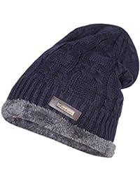 Krystle Wool Cotton Warm Winter Hat Knit Cap for Men and Women (Navy Blue) 417543ed2ebb