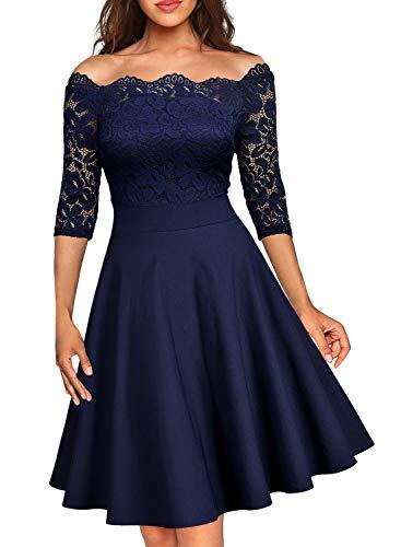 Miusol Damen Vintage 1950er Off Schulter 3/4 Arm Cocktailkleid Retro Spitzen Schwingen Pinup Rockabilly Kleid Dunkelblau Gr.XL -