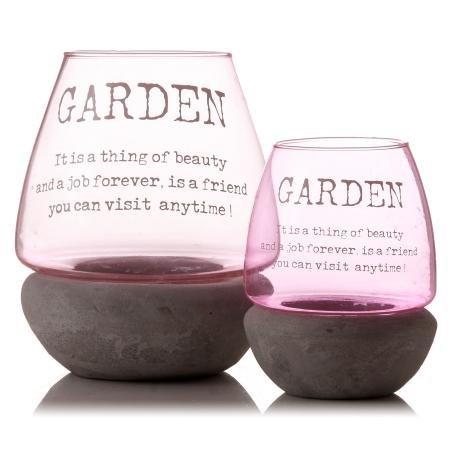 Jardin Rose 20 cm Bougeoir en verre extérieur - C'est une chose de beauté
