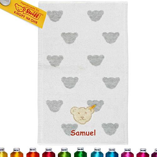 LALALO Steiff Kinder & Baby Handtuch Bestickt mit Namen, 30x50 cm, Frottee Kinderhandtuch personalisiert, Mädchen & Junge, Grau Softgrey Melange (30 x 50 cm)