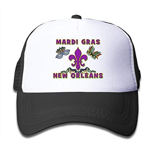 Trushop Boy's Girl's Mardi Gras New Orleans Mesh Baseball Caps Kid's Adjustable Baseball Kappe