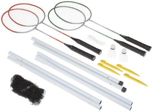 HUDORA Badmintonset Team RQ-44, 4 Stahlschläger, 2 Federbälle
