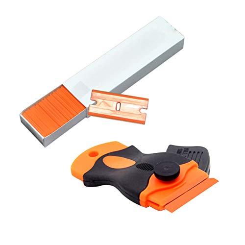 Putuio Mini Razor Schaber mit 100 stücke 1,5 Zoll Kunststoff Zweischneidigen Klingen für Scraping Etiketten und Abziehbilder aus Glas Windschutzscheiben Double Edge Scraper Blade