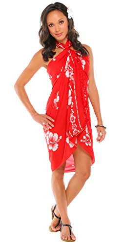 1 World Sarongs Femmes Hibiscus Flower Swimsuit Sarong in your choice of color
