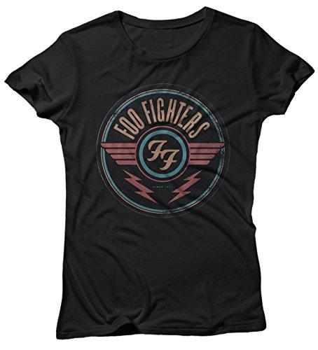 LaMAGLIERIA Damen-T-Shirt FOO Fighters New Circle - Maglietta 100% Baumwolle, M, Schwarz -
