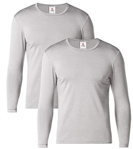 Lapasa uomo 2 pack t-shirt termica - ti tiene al caldo senza stress - maglia invernale a maniche lunghe m55 (l(torace 104-110 cm/manica 60 cm), grigio chiaro)