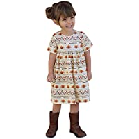 uBabamama Autumn Sale!!! Thanksgiving Day Short Sleeve Dress for Toddler Kids Baby Girl Cartoon Turkey Printed Princess Dress Outfits(Brown,Recommended Age:4-5 Years/120)