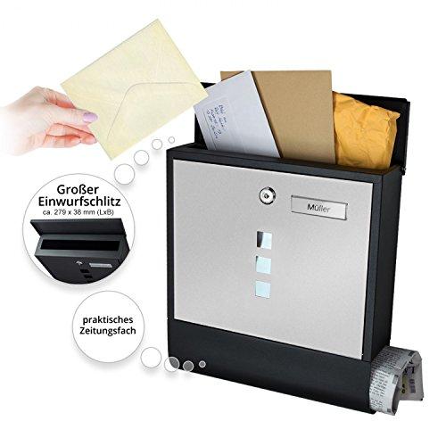 TÄGA 2217 Design Briefkasten anthrazit mit Zeitungsfach, Namensschild, Sichtfenster, Edelstahl pulverbeschichtet, abschließbar, 2 Schlüssel, Farbe: matt, anthrazit, grau - 6
