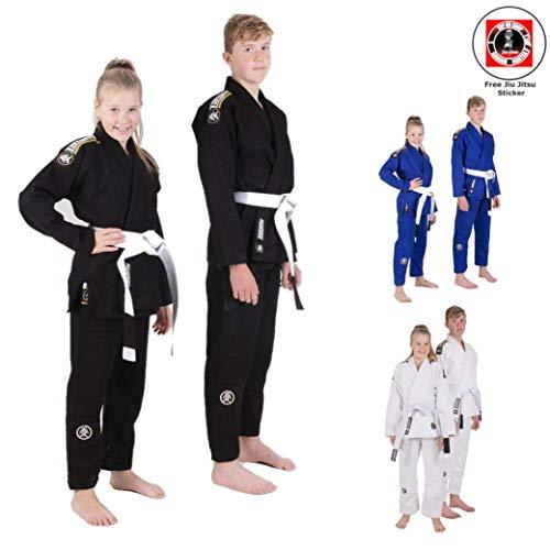 Nova Absolute für Junge Athleten - Kinder Kids BJJ Jiu Jitsu Anzug Gi Kimono Für Jungen und Mädchen - IBJJF konform - inkl. weißem Gürtel und BJJ Sticker (Schwarz, M4) ()