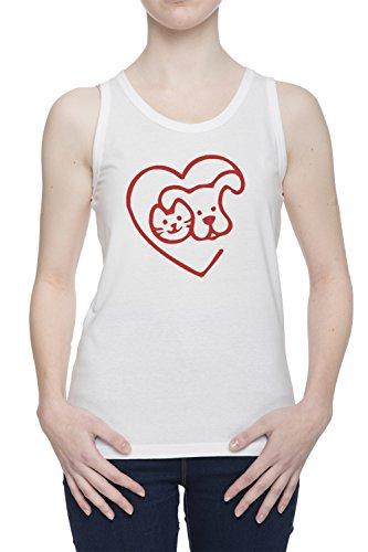 Amore Animali Donna Bianco Canotta T-shirt Tutte Le Taglie | Women's White Tank T-Shirt Vest Top