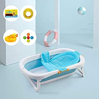 Inflatable Bathtub Baby Tub Collapsible Baby Tub Children Bath Bath Tub Sit Lie Newborn Toddler Bathtub a+ (color : Blue, Size : Bidet+bath net)