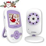 ANNEW Baby Monitor Wireless Digitale Videocamera Audio Bidirezionale Babyphone IR Visione Notturna Monitoraggio della Temperatura Ninnananne 2 vie Citofono Sistema Espandibile a 4 Telecamere