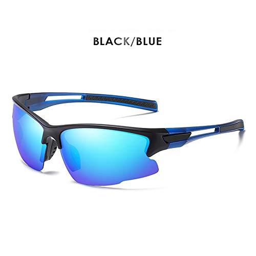 IN THE DISTANCE Marke Outdoor Sport Sonnenbrille Männer Polarisierte Winddicht Tactical Military Sonnenbrille Fahren Oculos De Sol Zonnebril Heren UV400 (Lenses Color : Balck Blue)