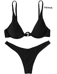 Rehao Costume da Bagno Donne Push-up Brasiliano Bikini Set c19bd2114ba