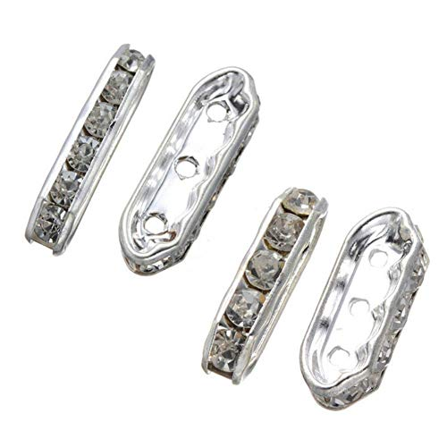 4c2c3dd0130a TEN-G 50 Pack 21.4mm x 7mm Silver Plated Rhinestone Metal Spacer Beads 3  Spacer Bars for Jewelry Findings DIY Multilayer Bracelet