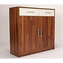 Armario y aparador de almacenamiento, de Caspio, Walnut & White, 2 Door 2 Drawer
