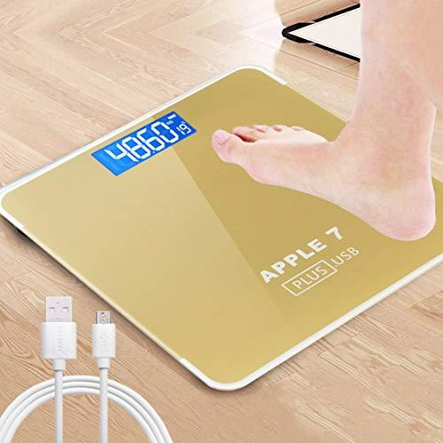 HiXB Körpergewicht Waage Hochpräzise Digitale Personenwaage Elektronische Waage USB-Aufladung,Gold,USBcharging