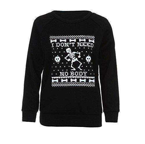 rbst halloween Skelett pulli damen komfortabel locker sport Sweatshirt warm weich pullover halloween Schädel Kostüm (XXL, Schwarz) (Halloween Skelett Sweatshirt)