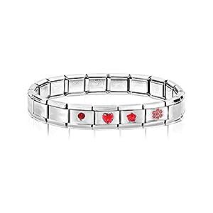 AKKi jewelry Italian Charms Armband Classic glieder Italy Charm,Silber Gold Edelstahl Links Kult modele Blume Tiere Herz für