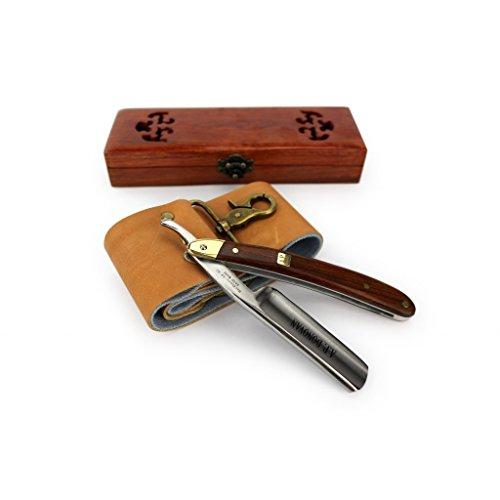 """Bild des Produktes 'A.P. Donovan - Professionelles 7/8"""" Rasiermesser mit Mahagoni Holzgriff - inkl praktischer Holzschatulle - mit Streichriemen + Schleifpaste'"""