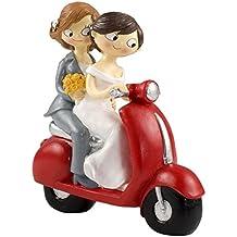 Mopec Y961 - Figura de pastel pareja de novias pop & fun en moto, 17 cm