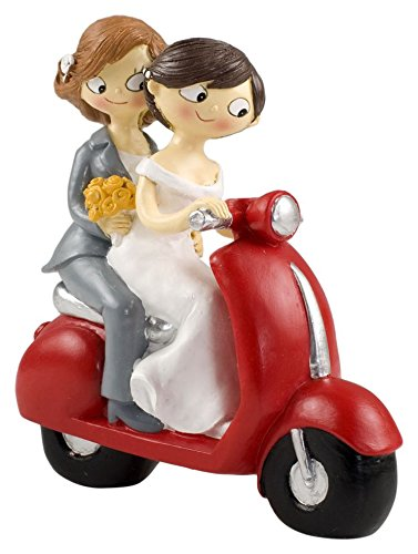 Mopec Y961 - Cake Figure Bride Couple Pop & Fun in Moto, 17 cm