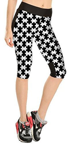 Donna 3D Jigsaw Stampato Vita Alta Calzas Collant Capri Leggings - Beige, X-Large