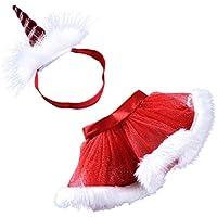 FENICAL Faldas de tutú con Diadema de Cuerno de Unicornio Disfraces de Fiesta en Capas Juego Tamaño M para Babay Girls (Rojo)