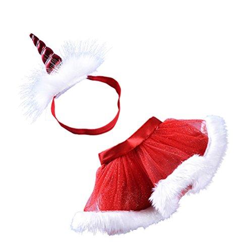 Fenical Tutu Röcke mit Einhorn Horn Stirnband Geschichteten Party Kostüme Set Größe M für Babay Girls (rot)