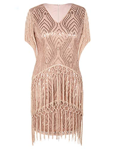 PrettyGuide Damen Gatsby Kleid Franse Pailletten Brüllen 20er Flapper Kleid M Rosé Gold