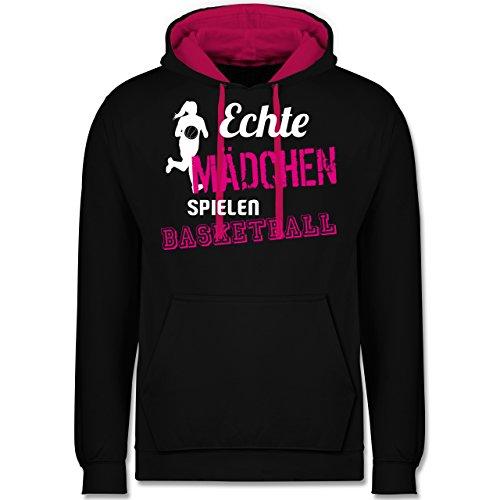 Shirtracer Basketball - Echte Mädchen Spielen Basketball - S - Schwarz/Fuchsia - JH003 - Kontrast Hoodie