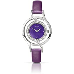 Seksy Ladies' Quartz Watch with Mother Of Pearl Dial Analogue Display and Purple Leather Strap 4524.37