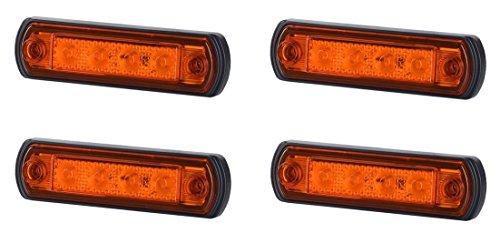 4 x 4 SMD LED Orange Begrenzungsleuchte Umrissleuchte 12V 24V mit E-Prüfzeichen Positionsleuchte Auto LKW PKW KFZ Lampe Leuchte Licht Gelb Universal