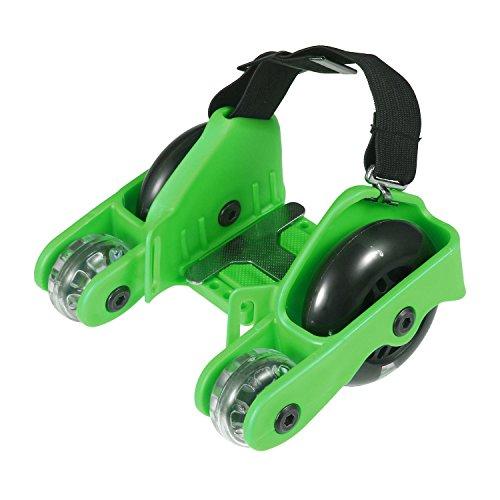Pawaca Aufgerüstet 4 Räder Heel Wheels Rolls Funrollers Mit LED Blinklicht und 200LBS/100kg Limit für Kinder Erwachsene(Grün)