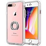 JETech Hülle für iPhone 8 Plus & iPhone 7 Plus, Anti-kratzt Schutzhülle mit Rotierendem Ring Fingerhalterung Ständer, HD Klar