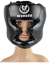 Pixnor Cabeza de boxeo de cuero boxeo casco cerrado tipo protector Sparring casco Muay Thai Taekwondo combate gratis Protector (negro)