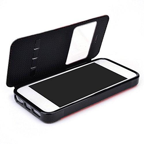 Kroo Smart Coque avec diapositive répondre pliable pour Apple iPhone 55S rouge