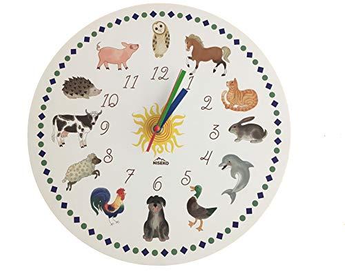 Niseko Reloj de Pared Infantil, con diseño de Animales, silencioso, Blanco