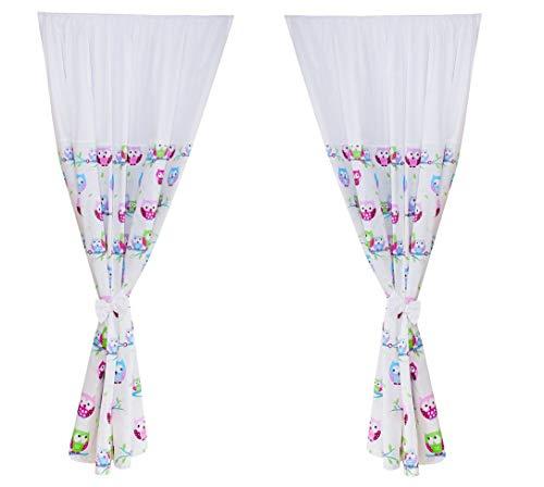 Vizaro - tende infantili/tendine per la stanza del bimbo set (2x) (155x155cm) - 100% puro cotone - prodotto in eu senza sostanze nocive - prodotto sicuro - c. gufetti