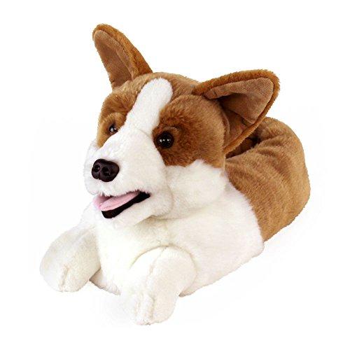 AnimalSlippers.com Corgi Hausschuhe - Hundeschuhe Einheitsgröße Weiß -