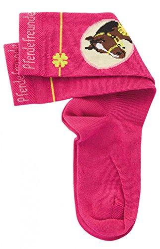 Pferdefreunde Kniestrümpfe Kinder Socken pink - Einfarbige hohe Mädchenstrümpfe mit Motiv, Größe 23-38, K/Sox:27 / 30