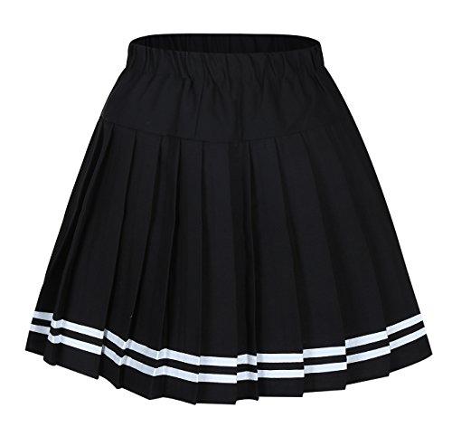 Frauen Plaid Elasticated Short Plissee Schule Kostüme Grau mixed Schwarz Large (Cotton Shorts Pleated)