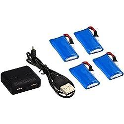 Mondpalast @ Batería Lipo de repuesto 3,7V 500mAh x4 + 4 en 1 Cargador para RC Cuadricóptero JJRC H31 H6D Hubsan X4 FPV H107C H107D H107L H107P H108 JXD392 JXD388 JXD385 UDI U816A FPV Drone