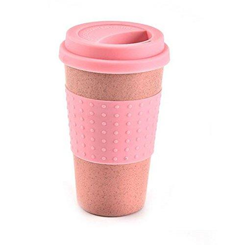 Gezichta grano paglia coffee cup, multiuso riutilizzabile healthy water cup cola tazze di caffè con coperchio per casa ufficio viaggi, campeggio, escursioni ecc, rosa, taglia libera