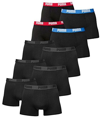 PUMA Herren Boxershorts Unterhosen 521015001 10er Pack , Wäschegröße:M, Artikel:3x black / 2x Schwarz Rot/Blau