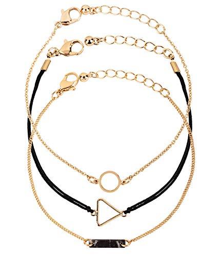 SIX Damen Armschmuck, Armband, Armkettchen, Anhänger, Textilband, Kreis, Dreieck, Stab, goldfarben (782-256)