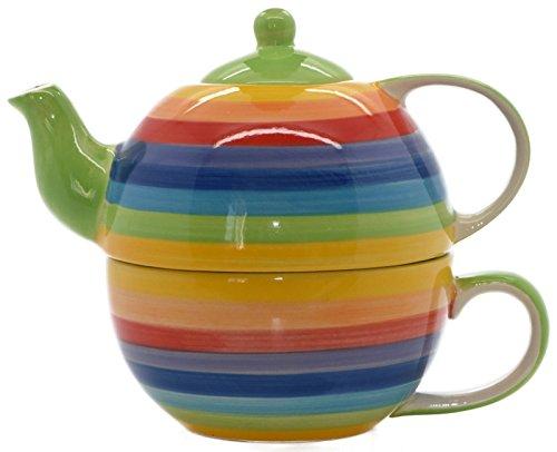 Windhorse Rainbow Striped Ceramic Tea for One Set