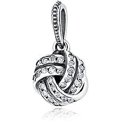 Wostu plata colgante para pulseras 925cuentas de plata colgantes para pulseras de cadena de serpiente