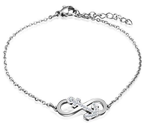Feilok Elegant Unendlichkeit Infinity Zeichen Anker Damen Armband Edelstahl Kristall Armkette Verstellbar Charm Armkettchen Armreif, Silver (Edelstahl-infinity-armband)